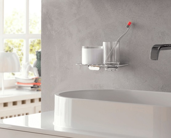 Elegant bath accessories in strict purist design